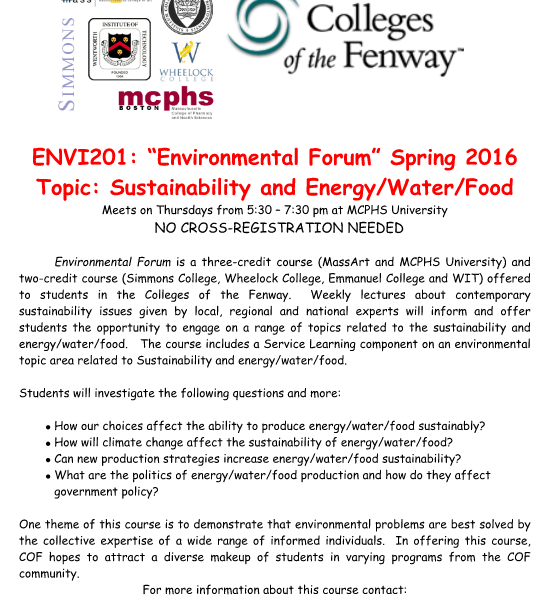 COF Environmental Forum Course Spring 2016