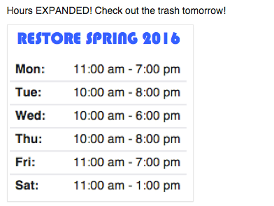 ReStore hours spring 2016